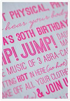 Hot Pink Birthday Invite