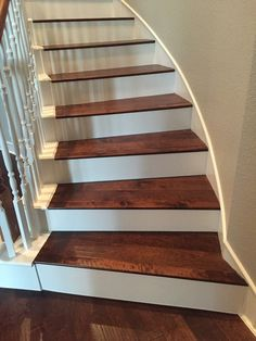Birch Color Coffee Installed On Staircase With White Risers