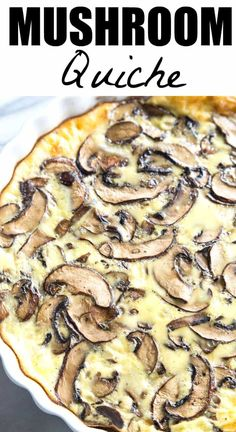 A simple, easy to make crustless quiche that is loaded up with mushrooms! Plus tons of tips & tricks for making the perfect quiche! This recipe will be the highlight of your brunch! Quiche Recipes, Egg Recipes, Cooking Recipes, Quiche Ideas, Free Recipes, Breakfast Quiche, Breakfast Recipes, Breakfast Potluck, Quiches