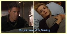 the password is fishing. From season 10, the line in the sand. I loved this subtle tip of the hat to Sam/Jack