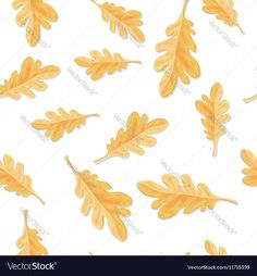 Seamless Pattern with Autumn Oak Leaves Isolated Vector Image by robuart