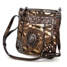 Designer Inspired Brown Golden Animal Print Suede Cross-body Lion Gun Metal Studs Rhinestone Pockets Shoulder Messenger Sling Bag $24.98
