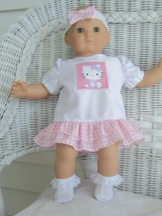 Doll Clothes, Clothing Bitty Baby Girl  My Kitty 3 pc Pink  and white  Dress outfit  with headband and socks. $14.00, via Etsy.