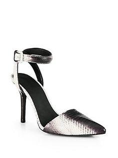 #NYFW Essential - Alexander Wang Lovisa Snakeskin Ankle Strap Sandals #alexanderwang