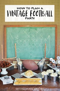 DIY Vintage Football Party is a twist on the classic tailgate party full of great food like Coca-Cola Meatballs and a Bacon Cheeseball, free printable party invitations and cupcake toppers, and fabulous party decor like DIY Mini Football Field Goal Posts made of modern copper pipe. Vintage Football Party - Wit & Wander