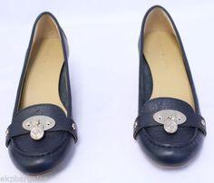 New-W-Flaws-Tommy-Hilfiger-Kree-Women-Leather-Platform-Wedge-Marine-Blue-8M-W502