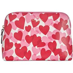 kate spade new york Yours Truly Print Briley Small Cosmetic Bag (185 PEN) ❤ liked on Polyvore featuring beauty products, beauty accessories, bags & cases, heart party, toiletry kits, make up purse, kate spade, travel kit and makeup purse