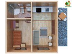 Superficie: 35 m² Habitaciones: 1 Baños: 1 Grosor de las paredes exteriores: 165 mm Salón: Sí Cocina: Sí (No incluye muebles ni electrodomésticos, sólo el habitáculo reservado) Porche: Sí Instalaciones conforme a normas de electricidad: Sí Instalaciones conforme a normas de fontanería y sanitarios: Sí Suelo en gres en cocina y baños: Sí Madera tratada con productos protectores: Sí