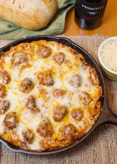 1. Baked Spaghetti & Meatballs