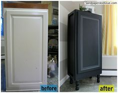Repurposed Furniture: Kitchen Upper Cabinet to Stylish Storage Cabinet :: Hometalk  check out the *models*...;)
