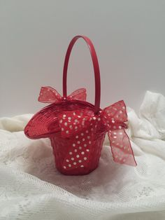Flower Girl Basket - Red Woven Basket - Bonnet Style Basket - Red Polka Dot Ribbon and Bows by VKVDesigns on Etsy