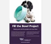 Fill the Bowl Project : The Humane Society of the United States :: If you are already donating to a food bank or collecting for a local food pantry in your area, add pet food to what you are already giving. It will be distributed to needy families with pets. Partner with one of your local animal shelters or rescue groups and find out what food or other supplies are needed.