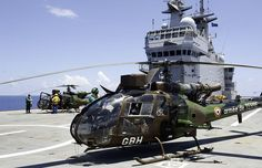 French Army Gazelles on the French helicopter carrier & logistics ship BPC Tonnerre (Thunder), during anti piracy patrol.
