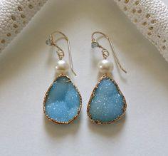 Aqua Druzy Earrings Gold Dipped Druzy Blue by BellaAnelaJewelry