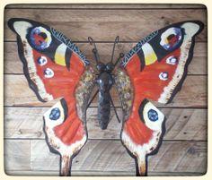 www.creativeartbyjessica.nl dagpauwoog vlinder tuindecoratie handgemaakt