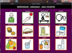MATERIALES - Merendar.    Tablero de 12 casillas para el comunicador AraBoard en el que el niño dispone de una serie de alimentos y bebidas para seleccionar aquello que quiere merendar o beber. Incorpora locuciones de ARASAAC.    http://arasaac.org/materiales.php?id_material=735