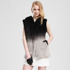 Natural Mink Hand-woven Coat Genuine Mink Furs Jacket Long Mink Fur Hooded Vest Gradient Color 2014 $888.70