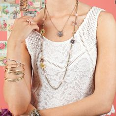 #gardenparty Wear a simple white dress and add Bling!  http://valeriesoule.chloeandisabel.com