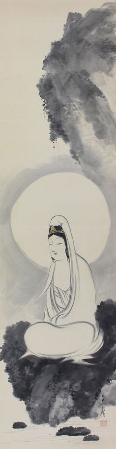 Japanese Fine Art Painting Kannon Guanyin Bodhisattva Hanging Scroll Kakejiku– 1409183b