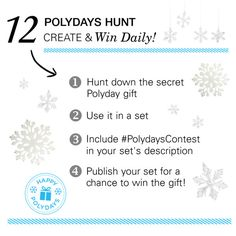 The time is now. Hunt down the secret Polyday gift (hint: look for the blue stamp!), create a set and you could win! http://polyv.re/12PolydaysHunt
