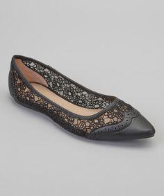 Look what I found on #zulily! Gemini Black Lace Eva Flat by Gemini #zulilyfinds