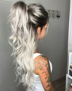 icy blonde hair with dark roots short hairstyles \ icy blonde hair dark roots short hairstyles . icy blonde hair with dark roots short hairstyles Hot Hair Colors, Ombre Hair Color, Cool Hair Color, Blonde Hair With Color, Teen Hair Colors, Ombre Rose, Different Hair Colors, Punk Hair Color, Hair Color Ideas For Black Hair