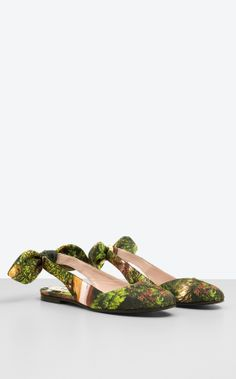 "CARVEN.Bow ballerinas with ""botanical"" print and open heel"