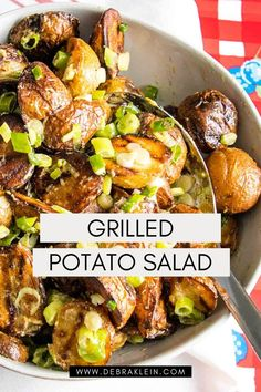 This creamy, dreamy Grilled Potato Salad Recipe is easy to make with just 5 ingredients, with NO MAYO. Skip the oven, say hello to your new BBQ favorite side dish. Healthy Side Dishes, Healthy Salads, Easy Meal Prep, Easy Meals, Recipe Please, Potato Recipes, Salad Recipes, Potato Salad, Grilling