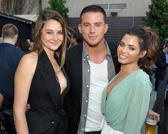 Jenna Dewan-Tatum: happy smile.  Shailene Woodley: happy smirk.    Channing Tatum: beer.