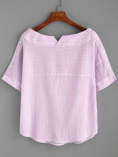 Shop Boat Neckline Striped Blouse With Buttons online. SheIn offers Boat Necklin… Shop Boat Neckline Striped Blouse With Buttons online. SheIn offers Boat Neckline Striped Blouse With Buttons & more to fit your fashionable needs. Sewing Clothes, Diy Clothes, Clothes For Women, Boat Neck Tops, Top Boat, Collar Shirts, Collar Blouse, Tunic Blouse, Short Sleeve Blouse