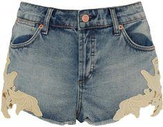 TOPSHOP Petite Crochet Trim Shorts