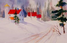 Red Roofs. watercolor by Teresa Ascone