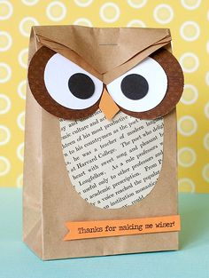 Owl Bag ~ Would make a cute classroom welcome gift.