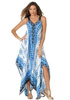 Blue & White Scarf Print Maxi Dress - It looks fabulously Greek!  // Plus Size Dresses