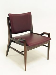 John Keal; Mahogany and Leather Dining Chair for Brown Saltman, 1950s.