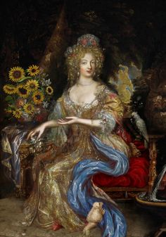 Madame de Montespan. It's hard to be absolutely sure, but she may be wearing a patch on her right cheek.