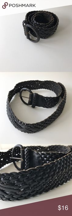 "Leather braided leather belt PRICE Firm Unless Bundled. 10% off bundles. Normal wear and tear. Approx 37.5 length, 3""width. Dark brown braided leather . Made in Turkey. Adjustable. 1004.11 Accessories Belts"