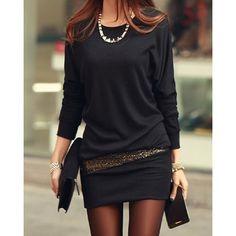 Long Sleeve Simple Style Scoop Neck Sequin Embellished Packet Buttock Cotton Blend Women's Dress on dresslily.com