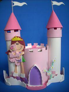ARTE COM QUIANE - Paps,Moldes,E.V.A,Feltro,Costuras,Fofuchas 3D: Castelo de E.V.A rosa para decoracao de festa infantil