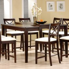 counter height with butterfly leaf. rounded edge table and leaf allows you to extend length of the table. #cappuccino finish. The stools are beautiful, too! #mhf