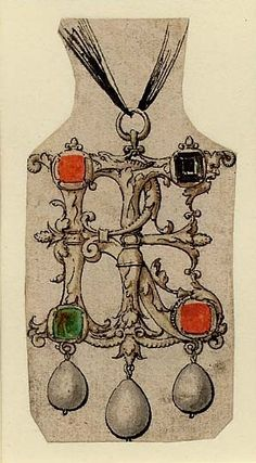 Design for a pendant in the form of a monogram RE, set with various stones and three suspended pearls, one of nine designs for pendant jewels, from the 'Jewellery Book'. Pen and black ink, with watercolour. Hans Holbein the Younger, circa 1532-1543