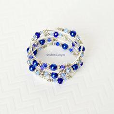 Blue braceletMemory wire braceletWrap by AnukritiDesigns on Etsy