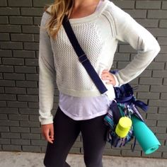 """Lululemon Cropped """"Be Present"""" Pullover Sweater 2 Lulu lemon Cropped Cotton Sweater. Mint green and white in color. Size 2. Worn once. lululemon athletica Sweaters Crew & Scoop Necks"""