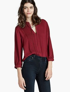 PLEATED BLOUSE, WILD CURRANT