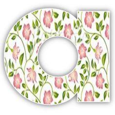 Alfabeto hada rubia con fondo de flores.