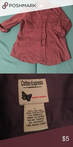 Quarter sleeve dress shirt Plum quarter sleeve dress shirt. Button up with two front pockets. Women's small Juniors Large Cotton Express Tops Button Down Shirts