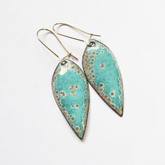 Turquoise mint seafoam gold leaf dangle earrings, lightweight earrings, boho chic nature bohemian enamel jewelry on Etsy, $36.00