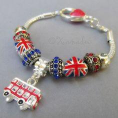 #British #Charm #Bracelet #UnionJack #DoubleDeckerBus #Beads