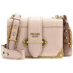 Prada Cahier Leather Shoulder Bag (4 050 AUD) ❤ liked on Polyvore featuring bags, handbags, shoulder bags, purses, beige, pink leather purse, pink shoulder bag, pink leather handbags, purse shoulder bag and prada purses