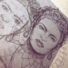 My version of Frida Kahlo almost done. Tattooing this one in a' few days! Frida Tattoo, Frida Kahlo Tattoos, Pin Up Tattoos, Leg Tattoos, Sleeve Tattoos, Piercings, Tattoo Drawings, Art Drawings, Mujeres Tattoo